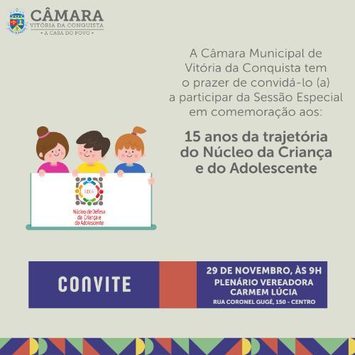 Imagem Sessão discutirá 15 anos do Núcleo da Criança e do Adolescente