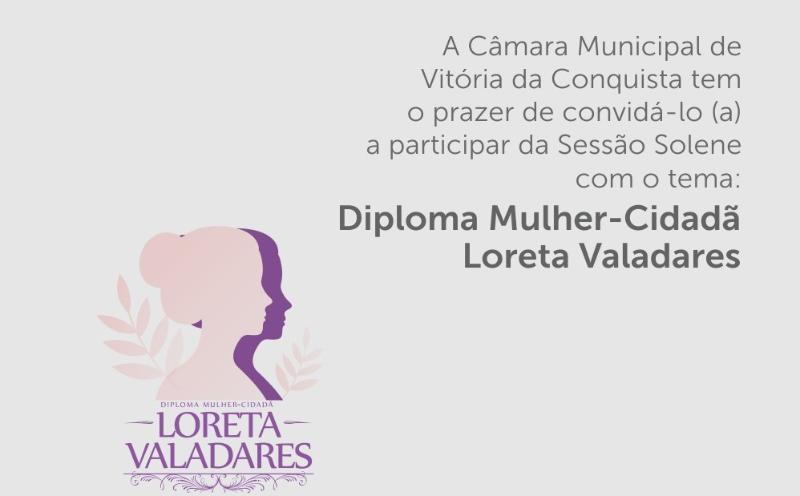 Imagem Câmara homenageia mulheres com Diploma Mulher Cidadã Loreta Valadares