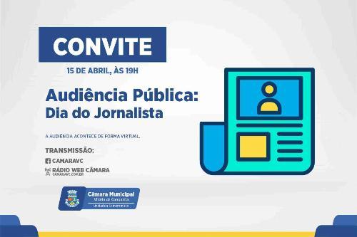Imagem Câmara comemora Dia do Jornalista com audiência pública nesta quinta