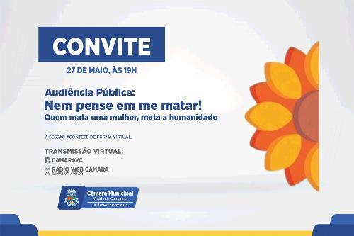 Imagem Campanha contra o feminicídio tematiza audiência pública na Câmara Municipal