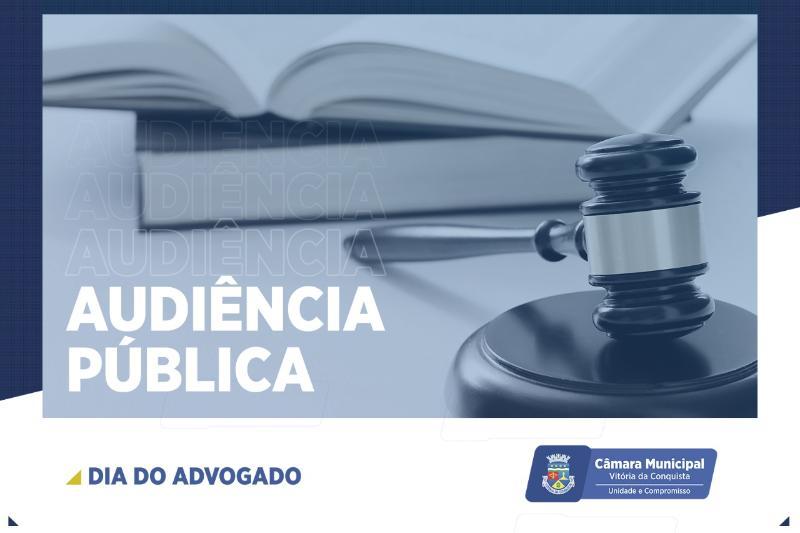 Imagem Câmara celebra Dia do Advogado com audiência pública nesta quarta-feira