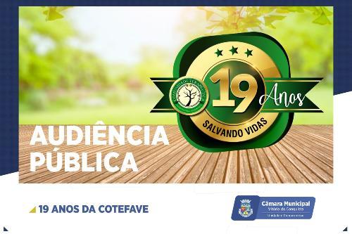 Imagem Câmara promove Audiência Pública em homenagem aos 19 anos da Cotefave