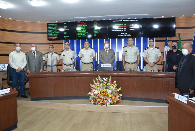 Imagem Em Sessão Especial, Câmara de Vereadores comemora 50 anos do 9º Batalhão da PM
