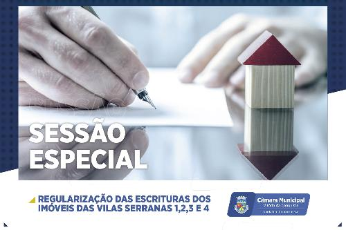 Imagem Câmara realiza Sessão Especial sobre Regularização Fundiária das Vilas Serranas I, II, III e IV