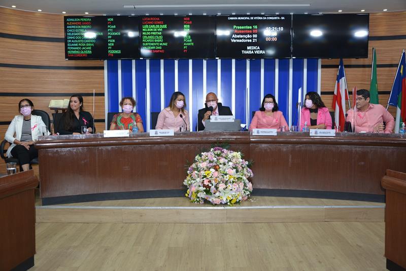 Imagem Em sessão especial, vereadores destacam campanha Outubro Rosa