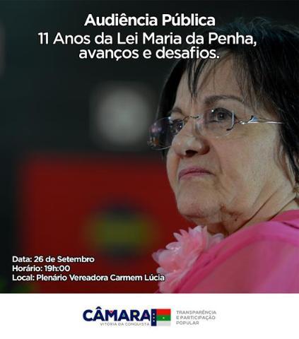 Imagem Audiência vai debater 11 anos da Lei Maria da Penha